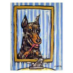 Doberman Brushing Teeth Dog Art PRINT 11x14 dentist  JSCHMETZ modern abstract folk pop art american ART by SCHMETZPETZ on Etsy https://www.etsy.com/listing/60125715/doberman-brushing-teeth-dog-art-print