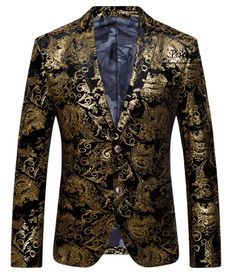 This gold/black gem is a floral blazer in it's own class. It has a cool antique style and is very modern! Wear this velvet blazer to social events, and get ready for great, fashionable complements!