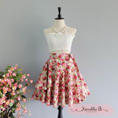 Summer's Whisper Floral Skirt Spring Summer Sweet Red Pink Floral Skirt Party Cocktail Skirt Wedding Bridesmaid Skirt Red Floral Skirts