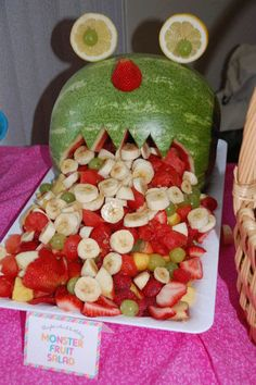 Adrians first birthday?? monster fruit salad...if I ever get pregnant with a boy...this will be at my monster baby shower ;)