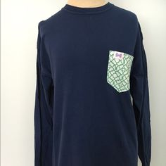 """Fraternity Collection Custom Long Sleeve Shirt Cotton and made in America! The Frat Collection long sleeve navy shirt with """"Anna"""" pattern in Kelly green and white. Fraternity Collection  Tops Tees - Long Sleeve"""