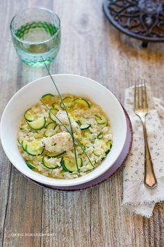 Risotto alle zucchine e limone con tartare di gamberi | Cucina Scacciapensieri