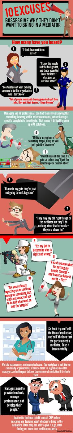 Brand New Infographic: 10 excuses bosses give not to bring in a mediator Alternative Dispute Resolution, Conflict Management, Conflict Resolution, Human Resources, Workplace, Infographics, Boss, Bring It On, Knowledge