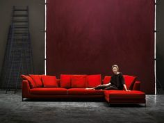 "Red Sofa ""Ray"" Sectional by B & B Italia (kinda love this sofa)."