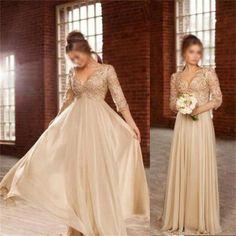 Unique Chiffon Beading Half Sleeves V-Neck Prom Dress, Evening Party Dresses, PD0304