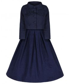 'Marianne' Navy Swing Dress and Jacket Twin Set – Little Wings Factory Dress And Jacket Set, Dress Up, High Neck Dress, Twin Set, Swing Skirt, Jacket Buttons, Fitted Bodice, Vintage Inspired, Vintage Fashion