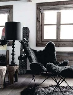 i have built and decorated my future home so, so many times in my very imaginative brain. i think it may be time to turn my attention to my second and third homes.perhaps a ski chalet in france? this one in in elle decoration uk is a good start. Interior Styling, Interior Decorating, Interior Design, Chalet Style, Butterfly Chair, My Happy Place, Chair Design, My Dream Home, Interior Inspiration
