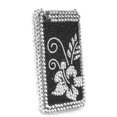 Flower Diamond Rhinestone Bling Hard Case for iPhone 4 (Black / Silver). $12.95, via Etsy.