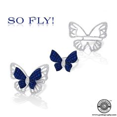 So Fly! #Stenzhorn #18K #WhiteGold #Butterfly #Ring #Sapphires #Diamonds #Gemstones #Style #Trendy #Fashion #Fashionista #JewelryAddict #JewelryLover #Jewelry #Jewellery