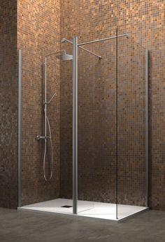 Arblu - SEPARET DEDALO / CONFIGURAZIONE 5: Parete doccia senza telaio H. 200 cm / Cristallo temperato sp. 6 mm