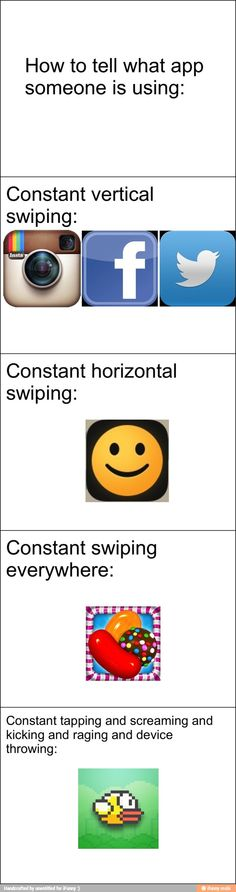 Ifunny: horizontal. Flappy Bird: Tapping and kicking and screaming.