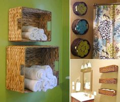 bathroom shelving ideas using baskets hung on wall.