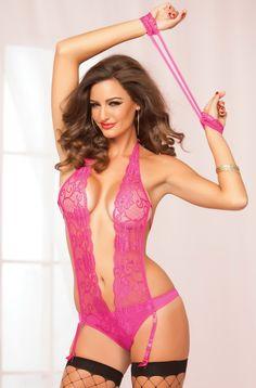 Pink Teddys, Gartered Teddys, Gartered Lingerie, Pink Lingerie, Valentines Day Lingerie