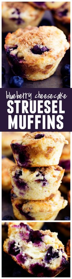 THE BEST bakery style muffin bursting with fresh blueberries. The surprise cheesecake center is the perfect addition to these amazing muffins!