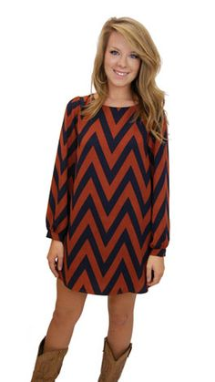 Chevron dress with tights and brown boots