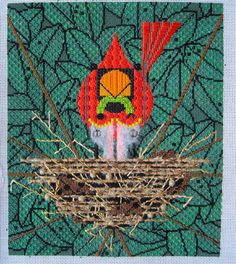 Needlepoint - looks like a Charley Harper design.  Really cute!
