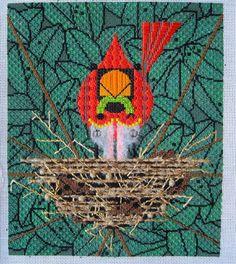 Needlepoint - looks like a Charley Harper design. Really cute!