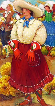 I love Linda Carter Holman's paintings.....her colors are so vibrant and happy.   Sister Boots by Linda Carter Holman