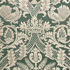 4+ yards Dark Green Gothic Birds Crowns Motif 100% Silk Damask Designer Decorating Fabric