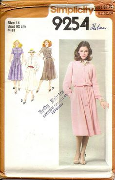 1980's Sewing Pattern  Simplicity 9254 Soft by jennylouvintage