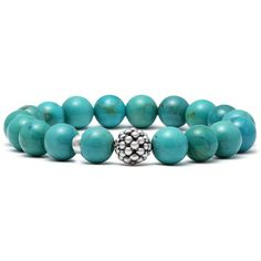 Lagos Caviar 10mm Ball Beaded Turquoise Bracelet ($250) ❤ liked on Polyvore featuring jewelry, bracelets, bead bracelet, beaded jewelry, turquoise jewellery, turquoise beaded jewelry and beaded bangles