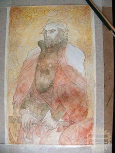 #WIP #KingOfSwords #NataliaPierandrei #78Tarot #SeventyEightTarot #Man #King #Beard #Swords #Beautiful #Handsome #Details #Sketch #Intricate #Linework #drawing #art #artwork #tarot #card #deck #TarotCard #underpainting #wash #painting https://www.facebook.com/natiart?fref=ts