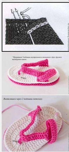 Cómo tejer sandalias crochet para bebé Crochet Baby Sandals, Crochet Baby Clothes, Crochet Slippers, Baby Knitting Patterns, Baby Patterns, Baby Shoes Pattern, Crochet Art, Learn To Crochet, Crochet Instructions