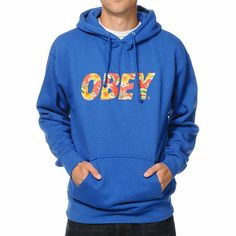 Obey Faster Times Blue & Hawaiian Print Pullover Hoodie on Wanelo