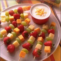 Fruit Kabobs.  Did something like this for my sister in laws baby shower.  Will for sure make again!