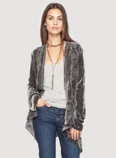 Johnny Was | Velvet Draped Cardigan - Tops - Clothing