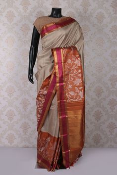 Light #grey multicoloured pure kanchipuram #silk aesthetic #saree with antique #gold multicoloured border -SR11540
