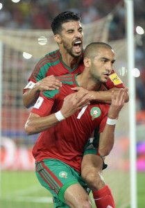 Morocco's M'Barek Boussoufa (L) and Hakim Ziyach (R) celebrates their fourth goal during the match Morocco VS Mali for the qualification of the 2018 FIFA World Cup at the Amir Moulay Abdellah Stadium in Rabat, 1 September 2017 .   ABDELHAK SENNA
