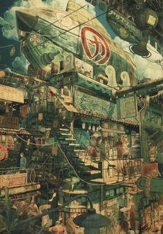 The Art of Imperial Boy - Daily Art Fantasy City, Fantasy World, Art Environnemental, Artist Problems, Anime City, Environment Design, Fantasy Landscape, City Landscape, Anime Scenery