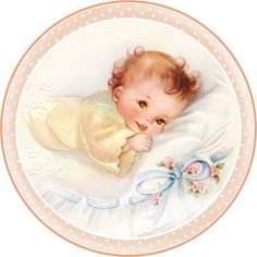 Cute Babies at Bed. Free Printable Cards, Toppers or Labels. Clipart Baby, Images Vintage, Vintage Pictures, Vintage Clip Art, Dibujos Baby Shower, Baby Illustration, Illustrations, Free Printable Cards, Baby Images