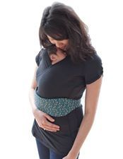 The NüRoo® Pocket is a babywearing shirt that offers full coverage and mobility for moms practicing skin-to-skin contact with their baby. It also doubles as a hands free carrier!