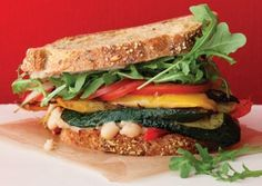 Roasted Vegetable Sandwiches with Zesty White Bean Spread