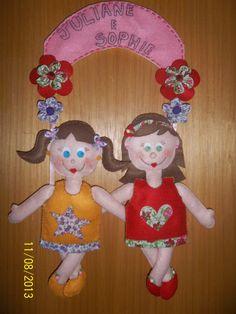 enfeite de porta meninas Juliane e Sophia