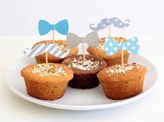 12 décorations pour gâteaux et cupcakes, thème moustache et noeud papillon, coloris bleu turquoise et gris : Autres papeterie par latelierdesconfettis