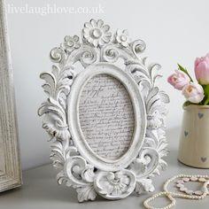 Lily Design Antique Effet Shabby Chic Blanc Sculpté en bois Photo cadre photo