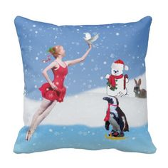 It's beginning to look a lot like winter. And a new season means new accessories. Welcome the new season with this decorative winter throw pillow. It definitely will look awesome on those your couch. #Christmas, #Ballerina, #Winter #Wonderland, #Pillow