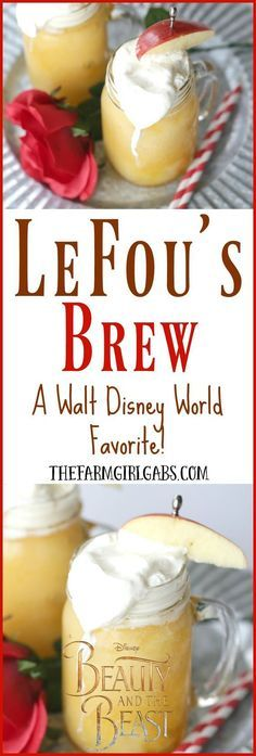 LeFou's Brew is a slushy apple drink popular at Walt Disney World! This deliciously refreshing drink recipe is inspired by the upcoming Beauty And The Beast movie. Now you can make your own LeFou's Brew at home with this simple recipe. Walt Disney World, Disney World Essen, Disney World Food, Disney Worlds, Disney At Home, Yummy Drinks, Yummy Food, Comida Disney, Disney Inspired Food