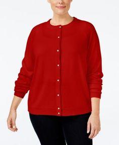 Karen Scott Plus Size Cardigan, Only at Macy's   macys.com