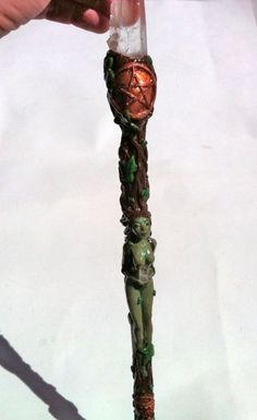 Earth Goddess Magic Wand with clear quartz point and Quiastolite  www.facebook.com/inspirhadas