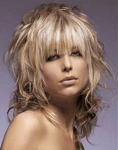 long blonde straight colored shaggy messy choppy layered women's haircut