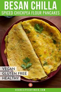 Looking for a great brunch item? How about besan chilla? It's a pancake made of spiced chickpea flour batter and is great with a savory or sweet chutney. Besan Chilla is also vegan and gluten free, so it is something everyone can enjoy! Chex Mix Recipes, Veg Recipes, Pudding Recipes, Indian Food Recipes, Vegetarian Recipes, Chicken Recipes, Bread Recipes, Ramen Recipes, Indian Snacks