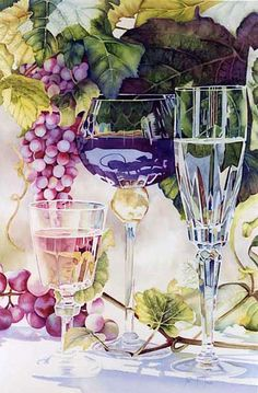 Wine Art - By June Young. No insipid landscapes from this watercolor artist. Watercolor Artists, Watercolor Techniques, Watercolour Painting, Painting & Drawing, Watercolors, Watercolor Trees, Watercolor Portraits, Watercolor Landscape, Wine Art