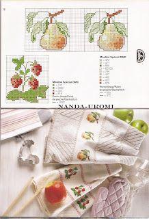 PONTO CRUZ da Nanda Cross Stitch Fruit, Cross Stitch Kitchen, Cross Stitch Borders, Cross Stitching, Stitch 2, Needlework, Margaret Sherry, Pattern, Crafts
