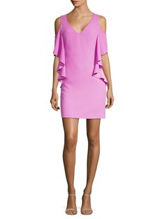 - Dramatic ruffles adorn this figure-flattering short dress- V-neck- Short ruffled cold shoulder sleeves- Concealed back zip- About from shoulder to hem- Polyester- Dry clean- Imported- Model shown is wearing US size 4 Short Dresses, Dresses For Work, Trina Turk, Sheath Dress, Ruffles, Cold Shoulder Dress, White Dress, Clothes, Shopping
