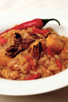 Chili Pumpkin Cranberry Risotto with Spicy Toasted Pumpkin Seeds | Post Punk Kitchen | Vegan Baking & Vegan Cooking