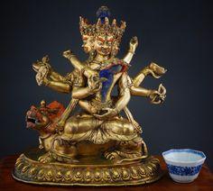 LARGE Antique Chinese Tibetan Gilt Bronze Cakrasamvara Ruby Turquoise Tantra Art, Oriental, Antique Rare, Bronze, Ruby Stone, Buddhist Art, Turquoise, Chinese Art, Buddhism